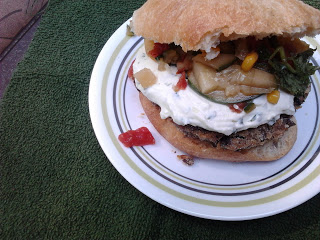Cucumber Relish and Goat Cheese Burgers