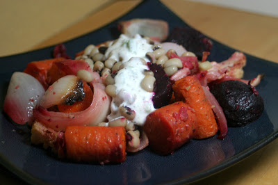 Bacony Beans and Roast Vegetables