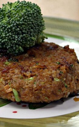 chickpea brown rice and broccoli burger