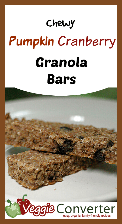 Chewy Pumpkin Cranberry Granola Bars
