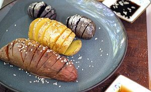 Sesame Hasselback Potatoes, Sweet and Salty #vegan