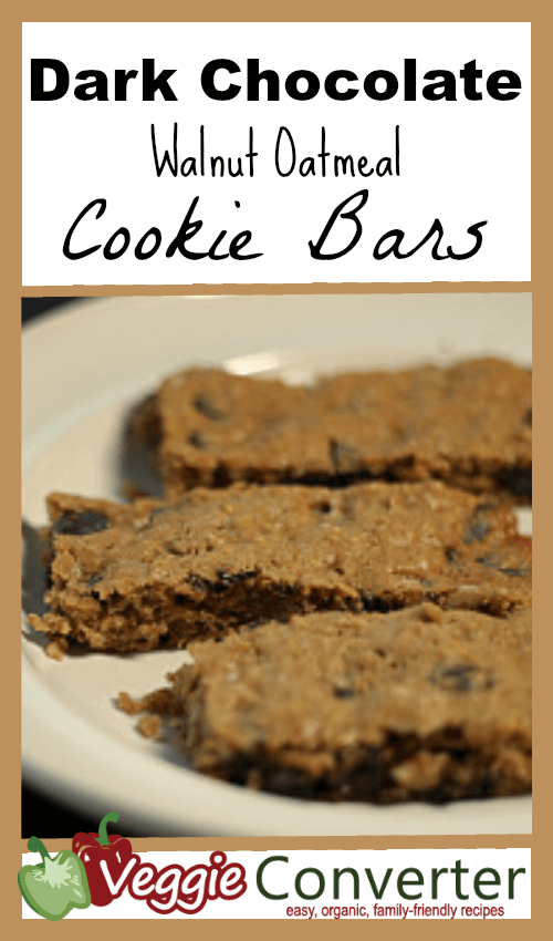 Dark Chocolate Walnut Oatmeal Cookie Bars