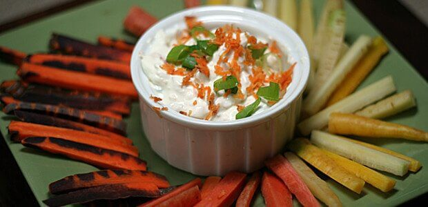 Rainbow Carrots and Cream Cheese Dip