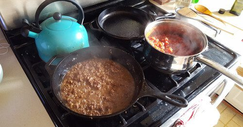 Meat Sauce over Gluten-Free Pasta - Starting the tomatoes