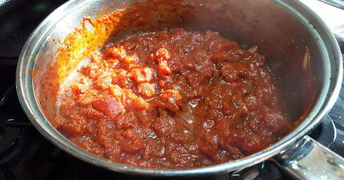 Meat Sauce over Gluten-Free Pasta - Finished tomatoes