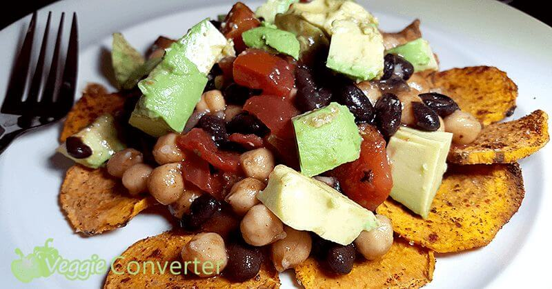 Sweet Potato Nachos | @VeggieConverter #grainfree #vegan