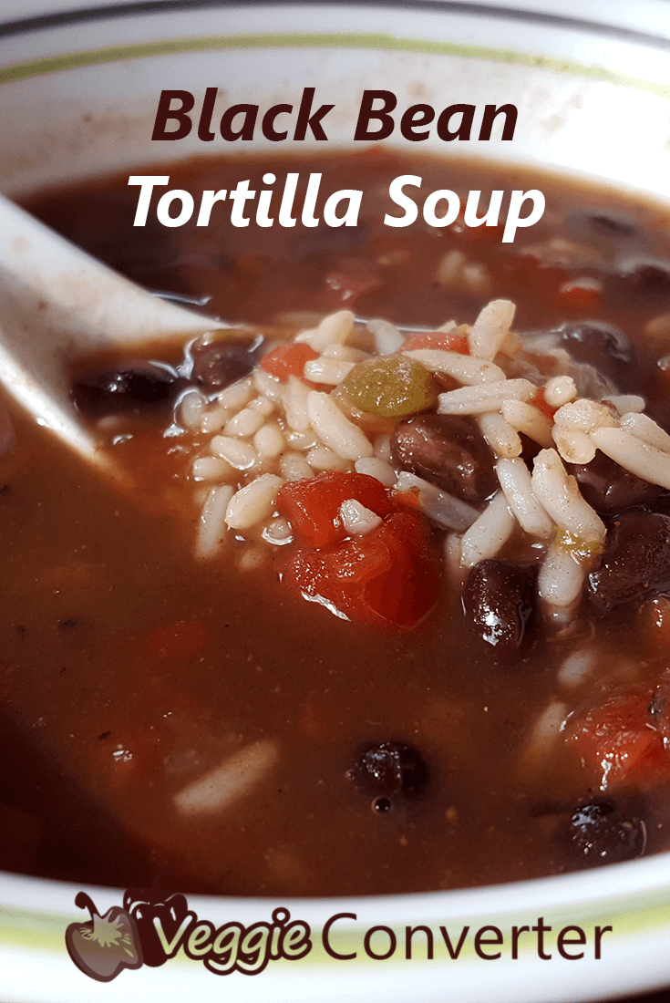 Black Bean Tortilla Soup | @VeggieConverter