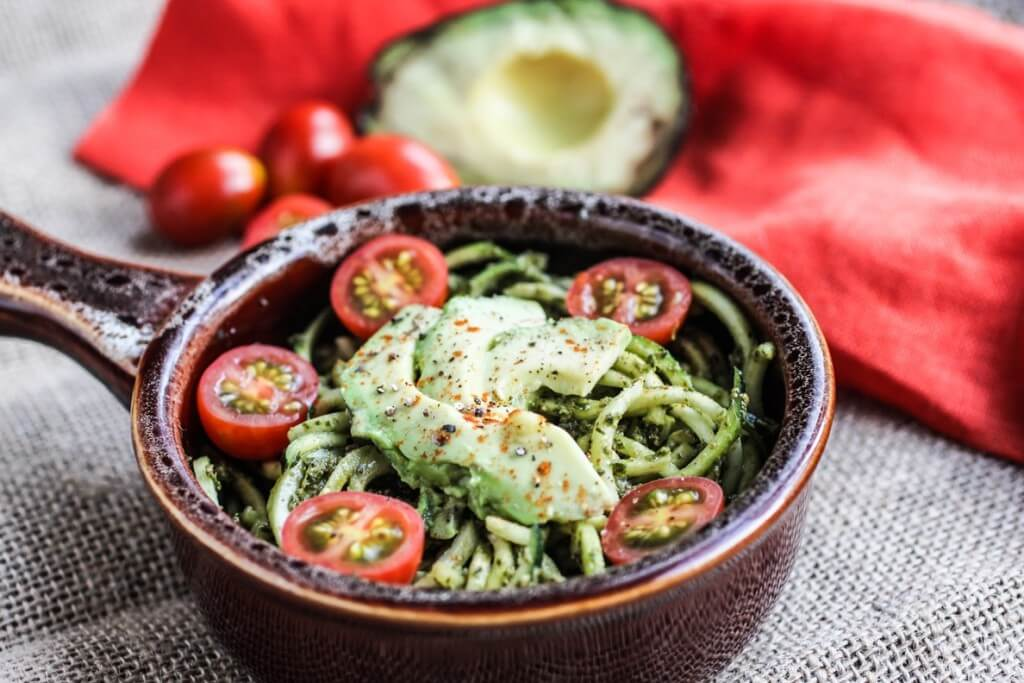 Zucchini Pasta with Pesto and Avocado